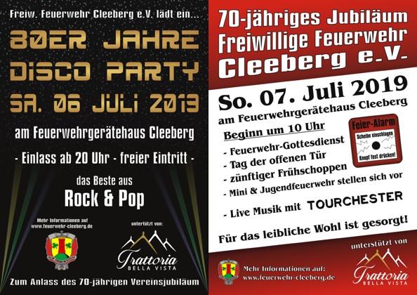 70-jähriges Jubiläum der Freiwilligen Feuerwehr Cleeberg vom 6. bis 7. Juli 2019